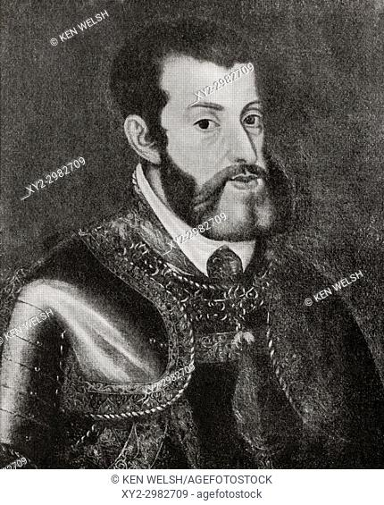 Charles V, 1500-1558. Holy Roman Emperor, King of Spain, King of the Romans and King of Italy. From Hutchinson's History of the Nations, published 1915