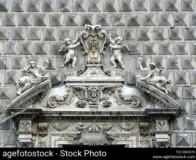 Naples (Italy). Architectural detail of the facade of the Church of the Gesù Nuovo in the historic city center of Naples