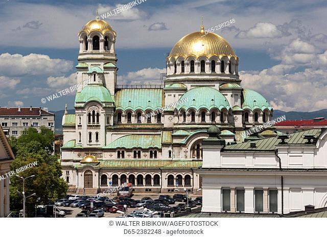 Bulgaria, Sofia, Ploshtad Alexander Nevski Square, Aleksander Nevski Church, elevated view, daytime