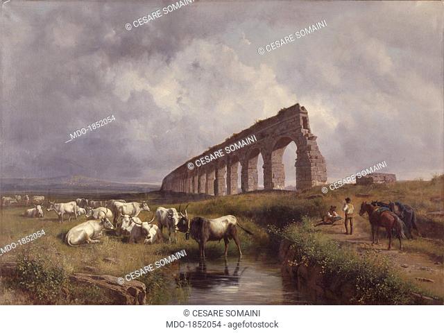 Herd of buffalo grazing (Mandria di bufali in pastura), by Andrea Markò, 1884, 19th Century, oil on canvas. Italy, Lombardy, Milan, Brera Collection
