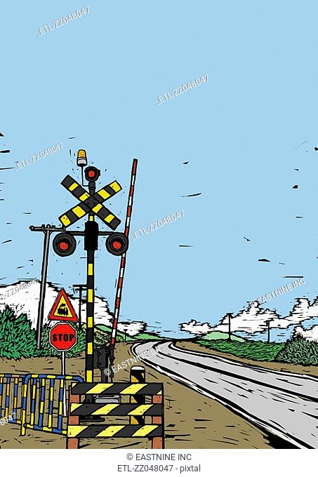 Railroad Crossing sign at a railroad track