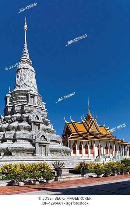 Stupa of King Norodom Suramarit in front of the Silver Pagoda in the Royal Palace District, Phnom Penh, Cambodia