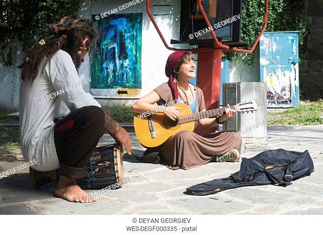 Bulgaria, Plovdiv, two street musicians making music