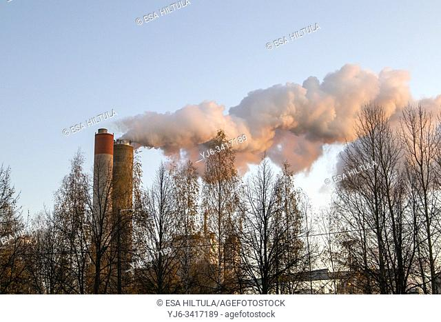 Smoke billowing from a pulp and paper factory, Finland