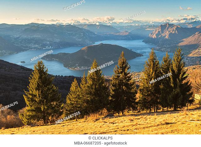 Iseo lake at sunset view from Colmi of Sulzano, Brescia province, Italy, Lombardy district