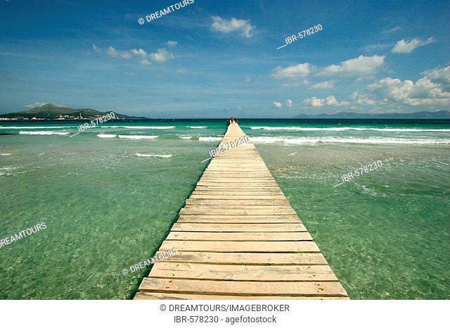 Boardwalk at the beach of Alcudia, Majorca, Spain, Europe