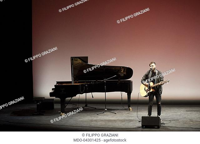 The singer-songwriter Filippo Graziani performing for the Concert for Umbria during the event Panorama d'Italia. Spoleto, Italy. 8th June 2017