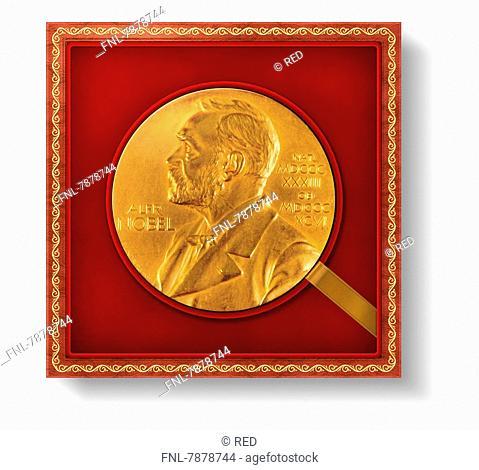 Headline: Alfred Nobel, Nobel Prize, honor, award, gold coin