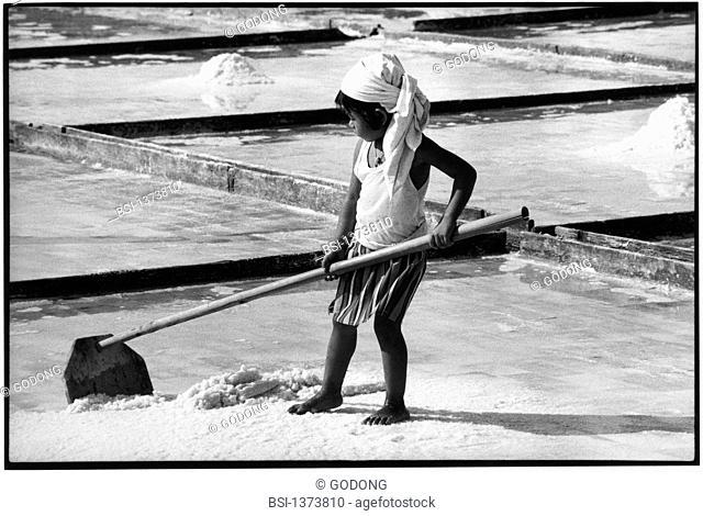 Salt pan worker in Iloilo, Philippines