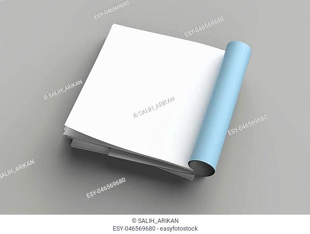 Square magazine, brochure or catalog mock up isolated left page on gray background. 3d illustration