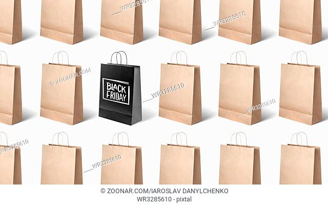 on white background many paper bags, black Friday