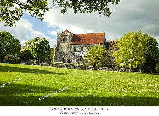 Spring afternoon at St Andrew's church in Steyning, West Sussex, England