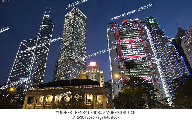 Central financial district and city center skyline, Hong Kong, China