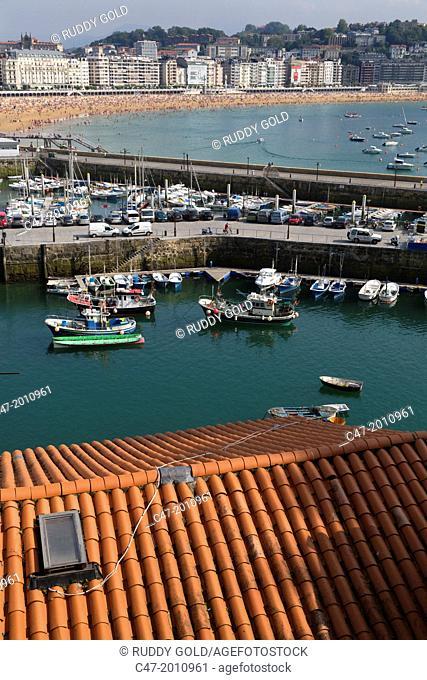Fishing boats at port. San Sebastian (Donostia), Basque Country, Spain