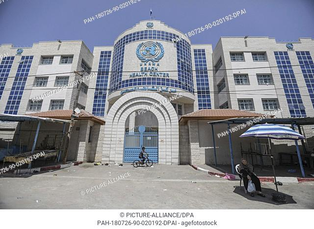 An exterior view of the Beach Health Center of The United Nations Relief and Works Agency for Palestine Refugees in the Near East (UNRWA), in Gaza City
