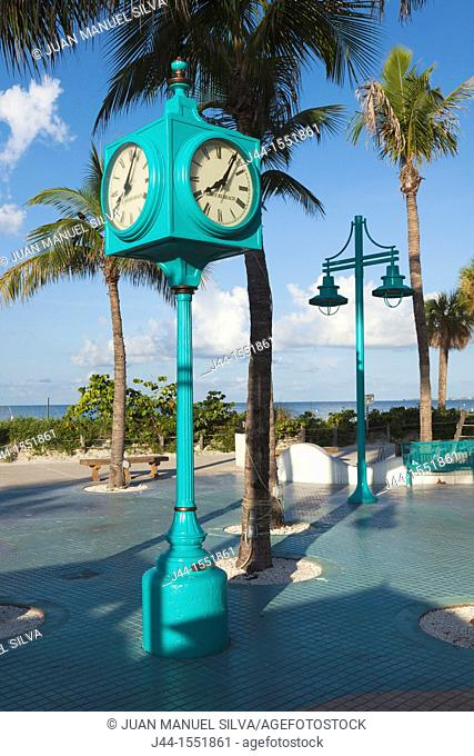 Clock at Times Square, Fort Myers Beach, Florida, USA