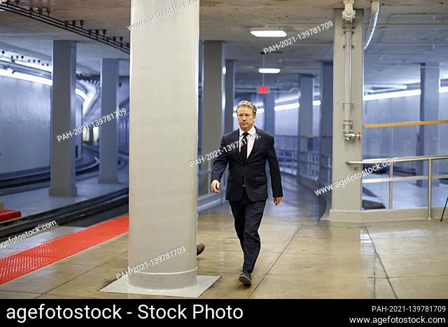 Senator Rand Paul, a Republican from Kentucky walks through the Senate Subway at the U.S. Capitol in Washington, D.C., U.S., on Thursday, Feb