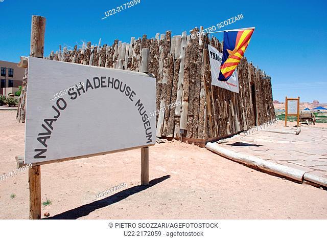 Arizona, U.S.A., Navajo Cultural Center of Kayenta, the small Navajo Shadehouse Museum