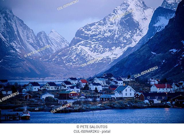 Reine fishing village and ocean, Norway