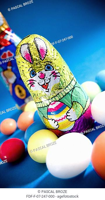 Close-up of Easter eggs with an Easter bunny