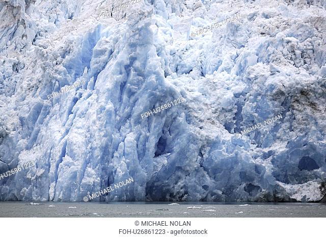 The face of the Le Conte Glacier in Le Conte Bay, just outside Petersburg in Southeast Alaska, USA. Le Conte glacier is the southernmost tidewater glacier in...