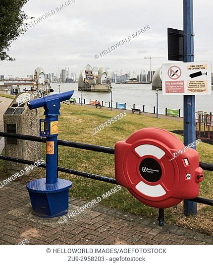 Telescope viewing point at the Thames Barrier, Greenwich, London