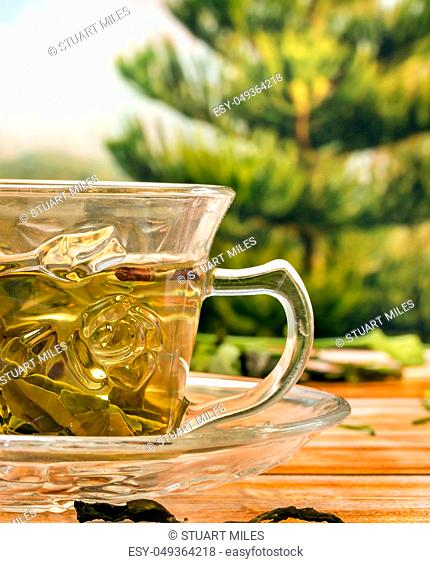Freshly made chinese green cup of tea healthy to drink