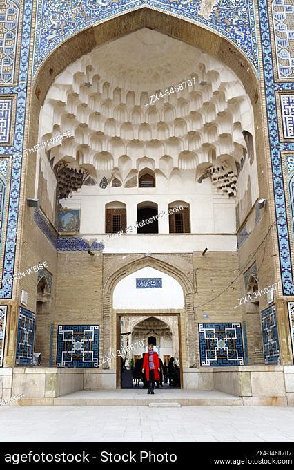 Meydan-e Gandj-e Ali Khan Square, Portal decorated with painted blue ceramic tiles, Kerman, Kerman Province, Iran
