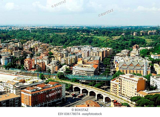 ROME, ITALY - MAY 31: Aerial view of Rome city from St Peter Basilica roof on May 31, 2014, Rome, Italy