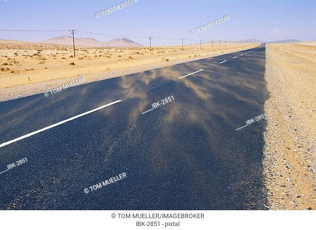 Road in sandstorm Namibia