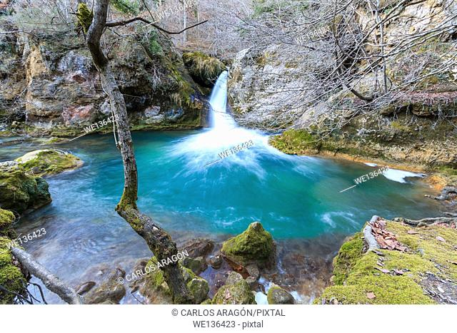 Waterfalls in the Nature Reserve Urederra. Navarra, Spain