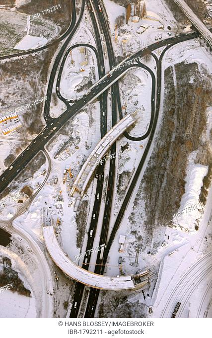 Aerial view, Ruhrschnellweg, highway A40 construction site, Hamm Donezkring, Bochum, Ruhrgebiet region, North Rhine-Westphalia, Germany, Europe