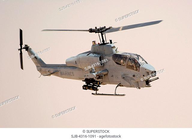 US Marine Corps AH-1W Super Cobra Makes an Attack Run