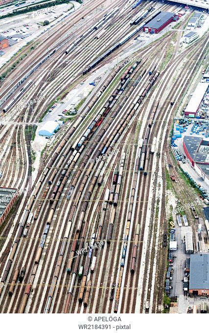 Aerial view of freight trains at shunting yard