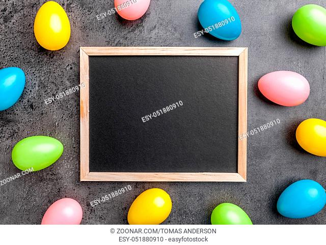 Traditional Easter eggs on a rustic background