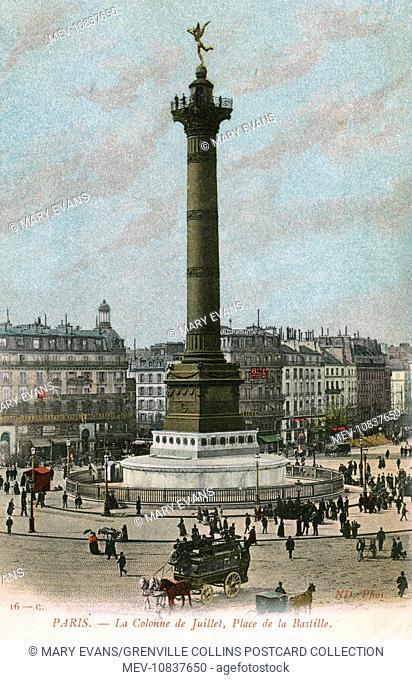 Paris, France - La Colonne de Juillet, Place de la Bastille. A monumental column commemorating the Revoluton of 1830. Built between 1835 and 1840