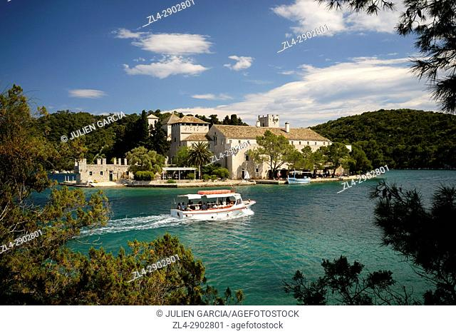 Croatia, Dalmatia, Dalmatian Coast, Mljet island, Mljet National Park, Benedictine monastery on St. Mary Island in Veliko Jezero (large lake)
