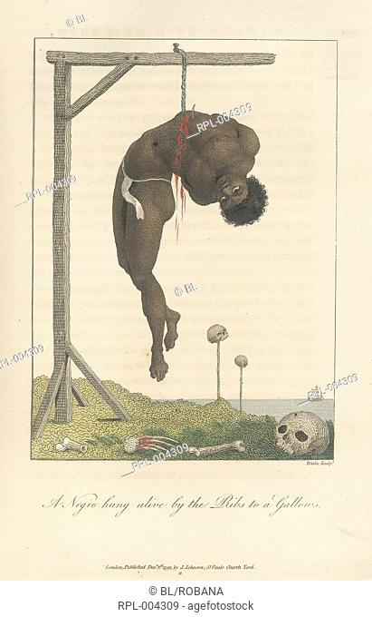 A Negro hung alive by the ribs to a gallows. A skull and bones on the ground. Image taken from Narrative of a five years expedition against the revolted Negroes...