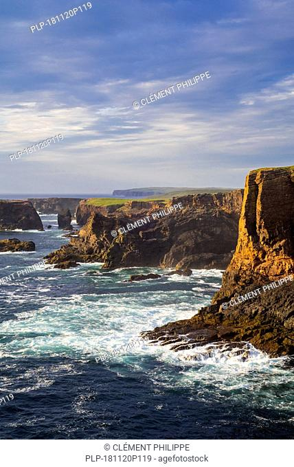 Sea cliffs and sea stacks at Eshaness / Esha Ness at sunset and approaching dark storm clouds in Northmavine, Mainland, Shetland Islands, Scotland, UK