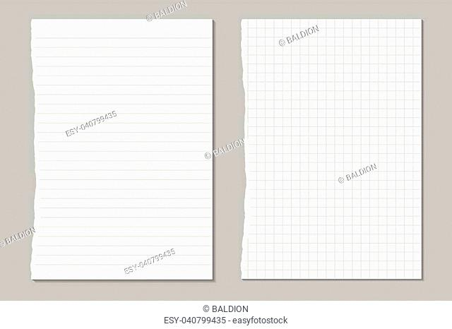 vector set of ripped sheets of lined and square paper from a workbook
