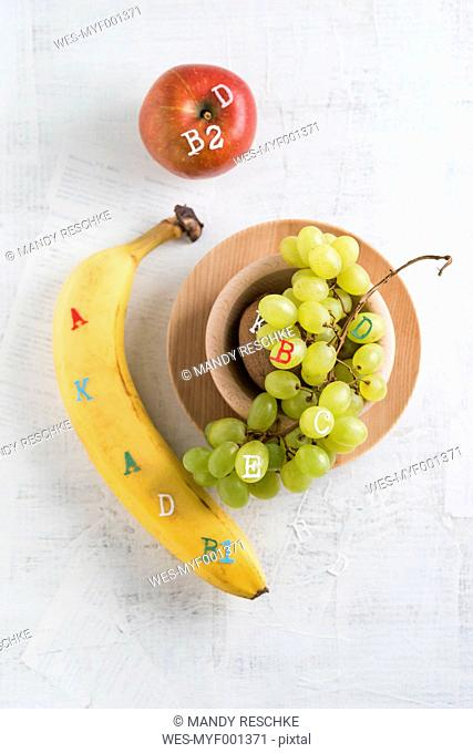 Banane, apple and green grapes, different vitamins