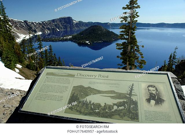 Crater Lake National Park, OR, Oregon, Cascade Range, Volcanic Legacy Scenic Byway, Rim Drive, Wizard Island, overlook, interpretive sign