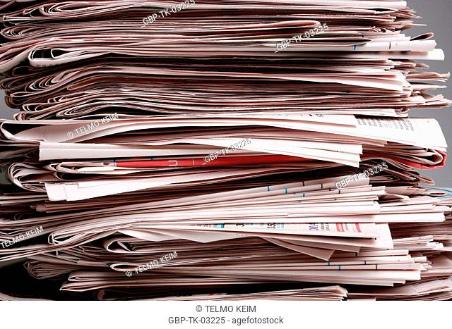 Stacked newspapers, paper, news, Brazil