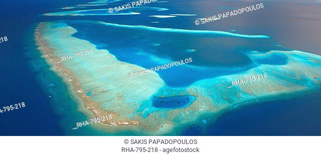 Aerial view of atolls and islands, Male Atoll, Maldives, Indian Ocean