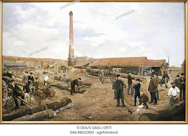 France- 19th century, The Sawmill of Villers-Cotterets in 1889, by U. Roy.  Soissons, Musée De Soissons