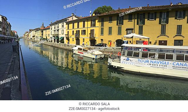 Italy, Lombardy, Milan, Naviglio Grande Canal, Tourists Boat. .