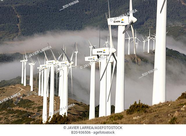 Wind power, Sierra de El Perdon windfarm near Pamplona, Navarre, Spain