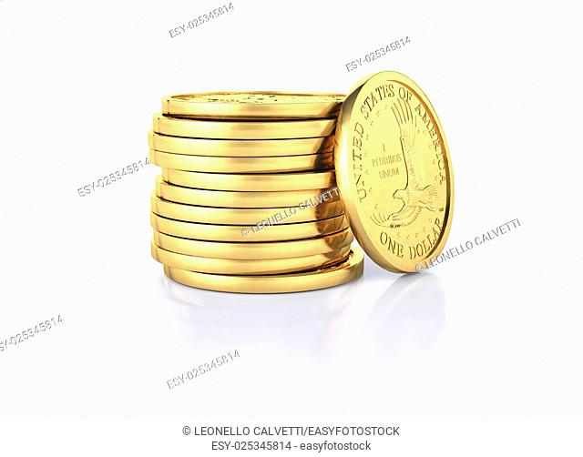 Gold dollar coins stack and one coin recumbent on it. On a white semi reflective surface and white background