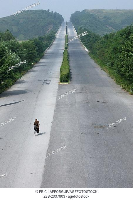 Bike On An Empty Highway In North Korea