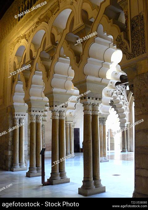 Zaragoza (Spain). Columns and polylobed Arches inside the Golden room of the Aljafería palace in the city of Zaragoza